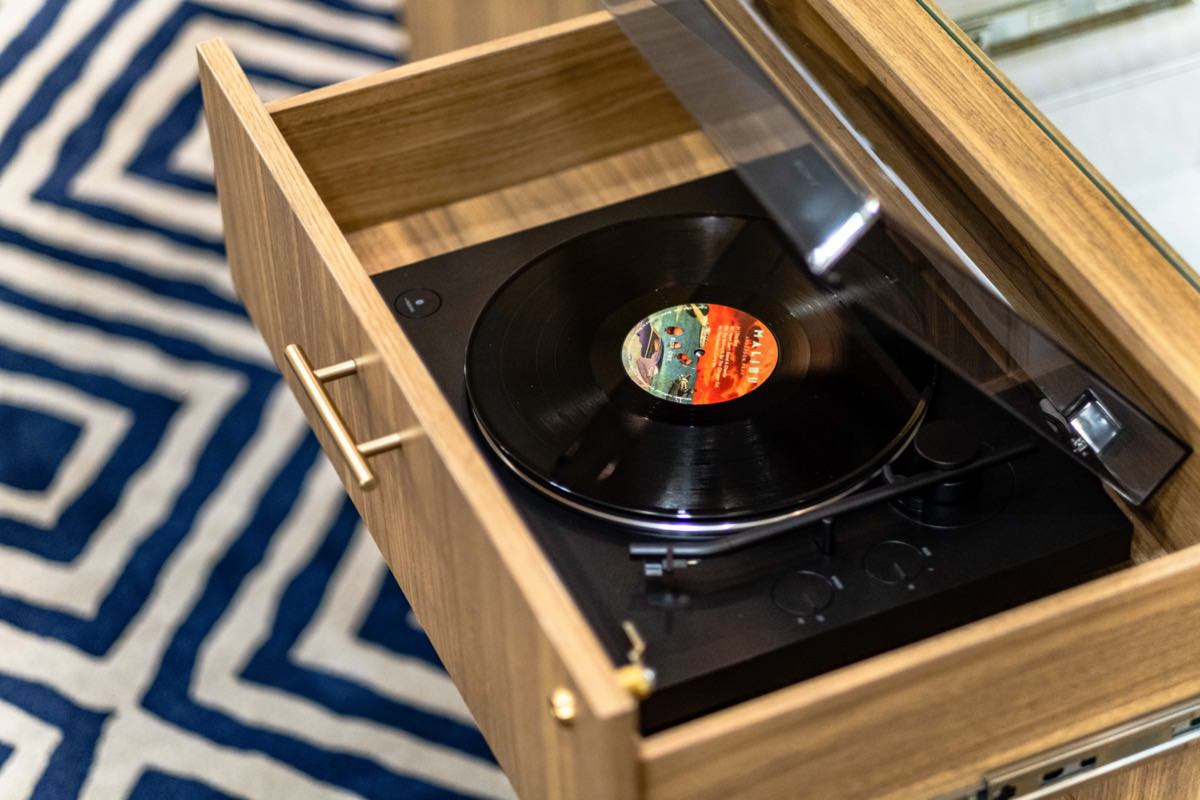 Open record player from the Hotel Lulu