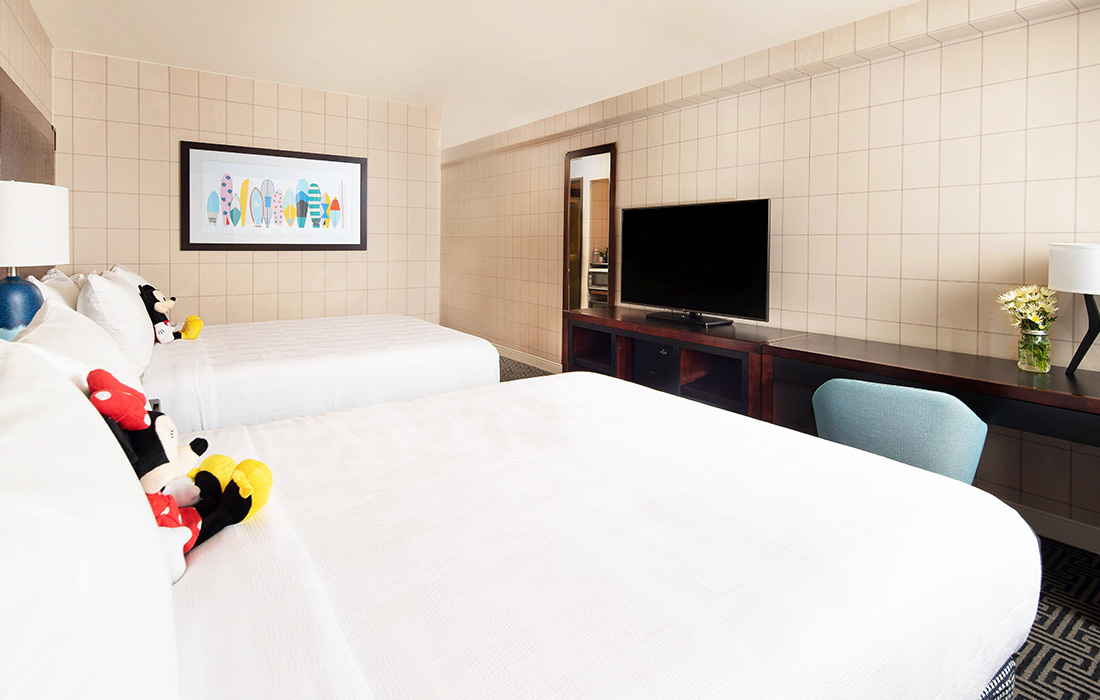 Standard Queen Room with Two Queen Beds and Disney Characters at Hotel Lulu in Anaheim, CA