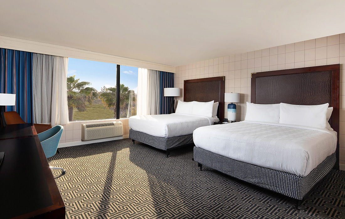 Standard ADA Queen room with palm tree view