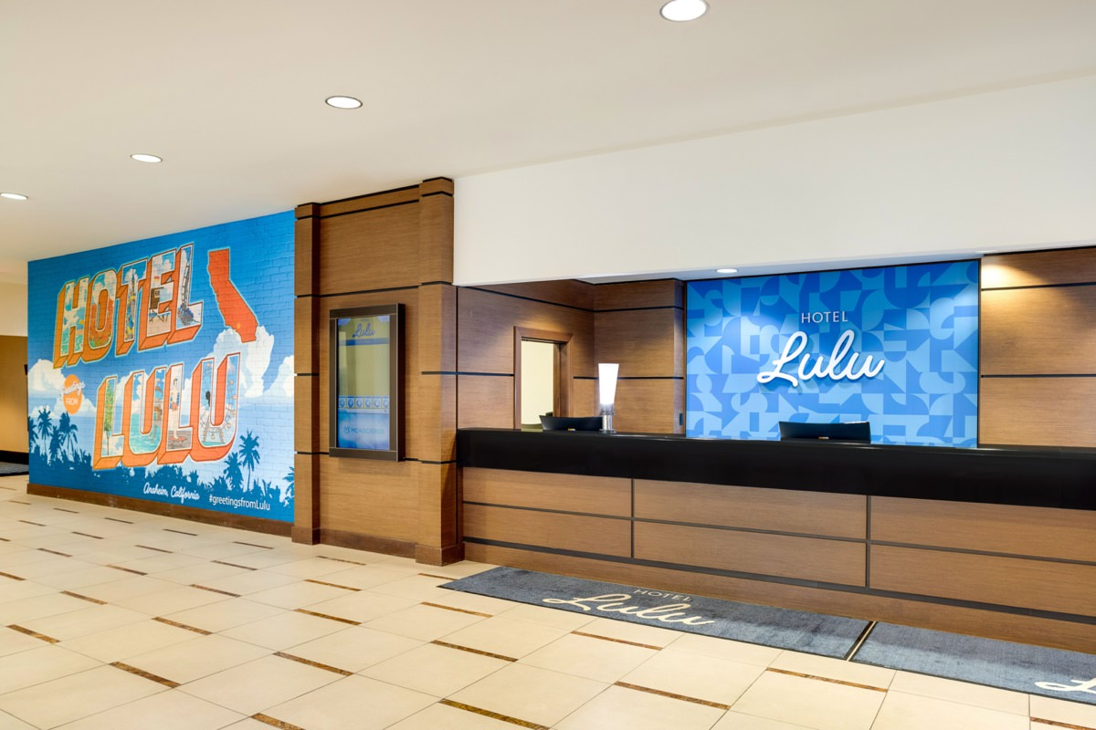 Front desk lobby and Instagram wall at the Hotel Lulu in Anaheim, CA