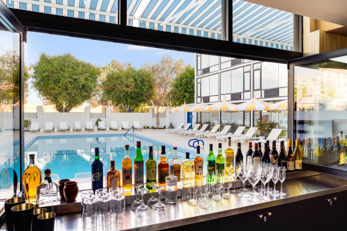 View of the pool from poolside bar at Hotel Lulu