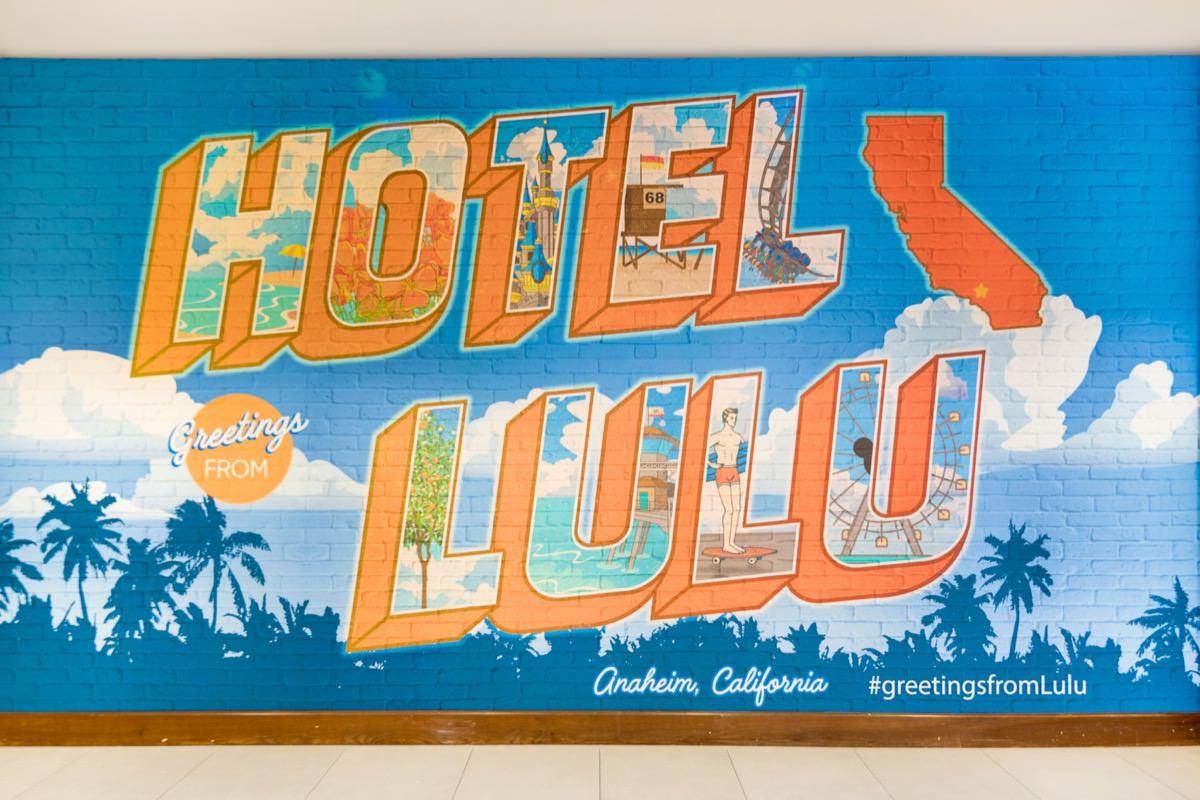 Hotel Lulu Instagram wall located in the lobby of Hotel Lulu in Anaheim, CA